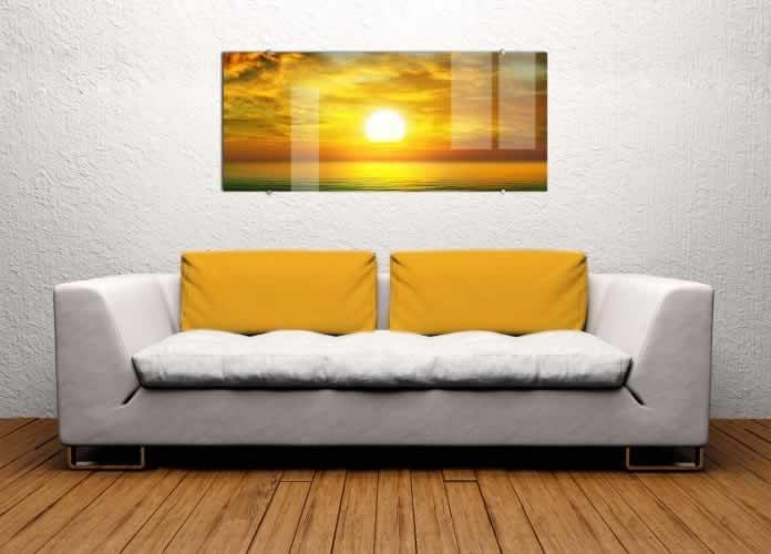 Obraz na szkle Wschód słońca nad morzem