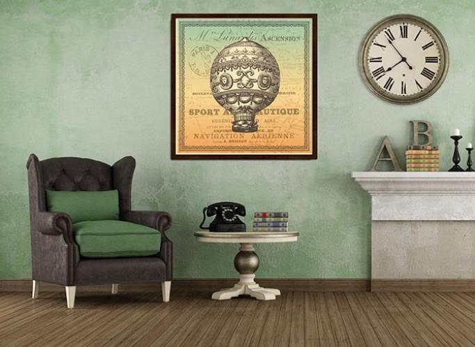 Obraz na płótnie w stylu vintage oprawiony w brązową ramę - Balon