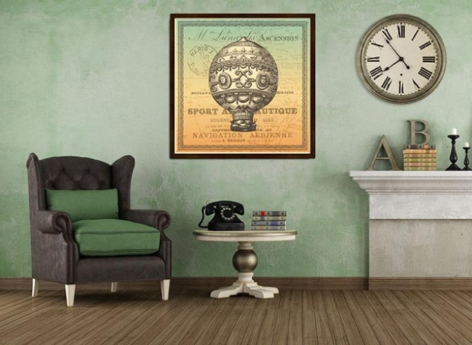 Obraz na płótnie w stylu vintage z motywem balonu