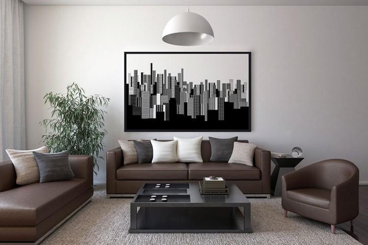 Czarno - biały obraz na płótnie oprawiony w czarną ramę z motywem miasta