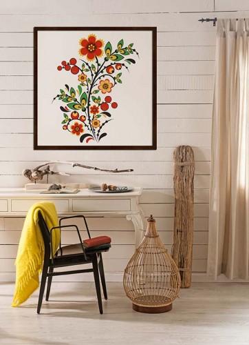 Obraz na płótnie z motywem kwiatów w stylu folk