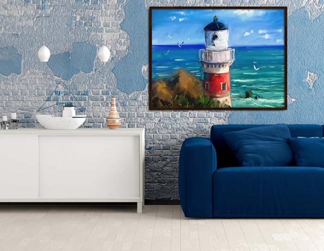 Obraz na płótnie z latarnią morską