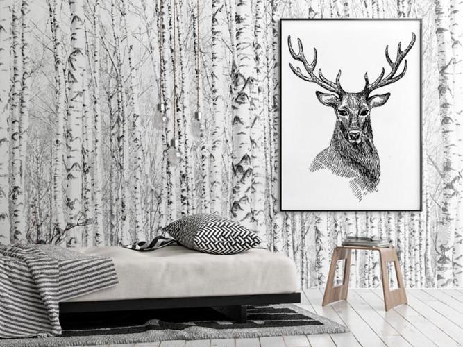 Obraz na płótnie w stylu skandynawskim - Rysunek z jeleniem