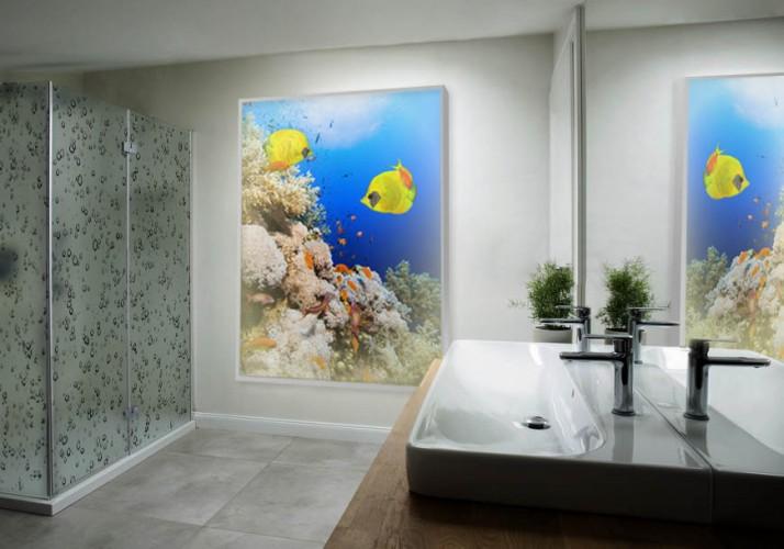 Panel szklany podświetlany do łazienki - Rafa Koralowa