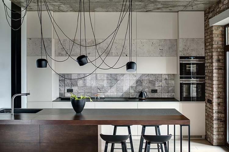Panel szklany do kuchni w stylu industrialnym z motywem szarych kafelków