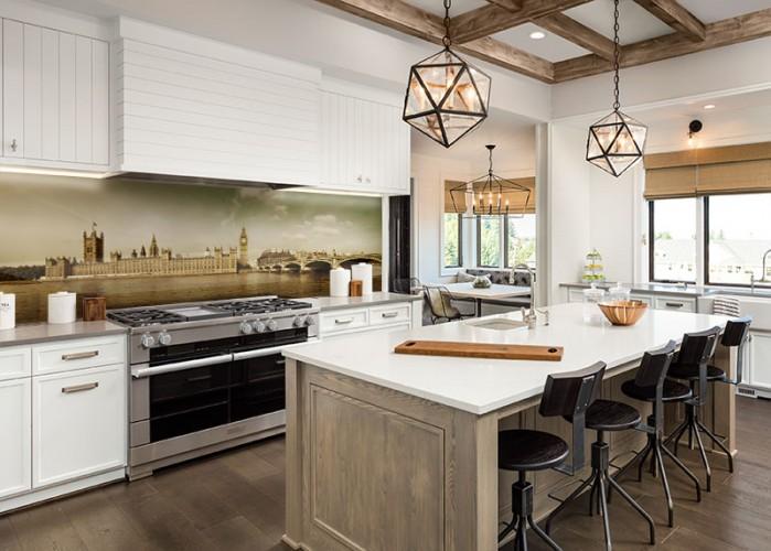 Panel szklany do kuchni z architekturą miasta