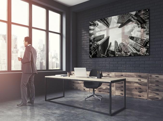 Panel szklany z wieżowcami do biura
