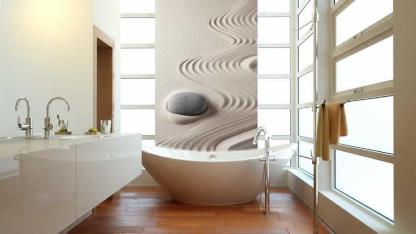 Panel szklany do łazienki z motywem kamienia i piasku