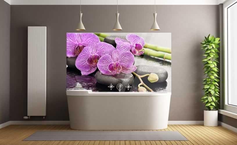 Panel szklany do łazienki z motywem fioletowej orchidei