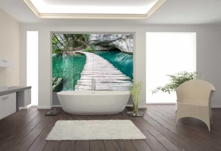 Panel szklany do łazienki z motywem mostu