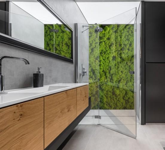 Panel szklany w stylu eko z motywem mchu