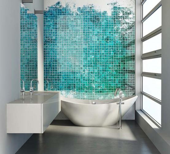 Panel szklany z turkusową mozaiką do łazienki