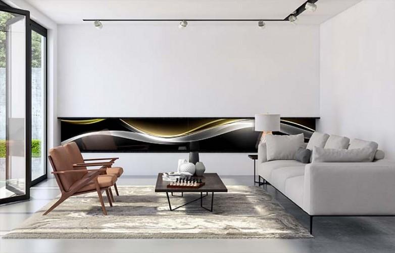 Panel szklany do salonu z motywem dymu