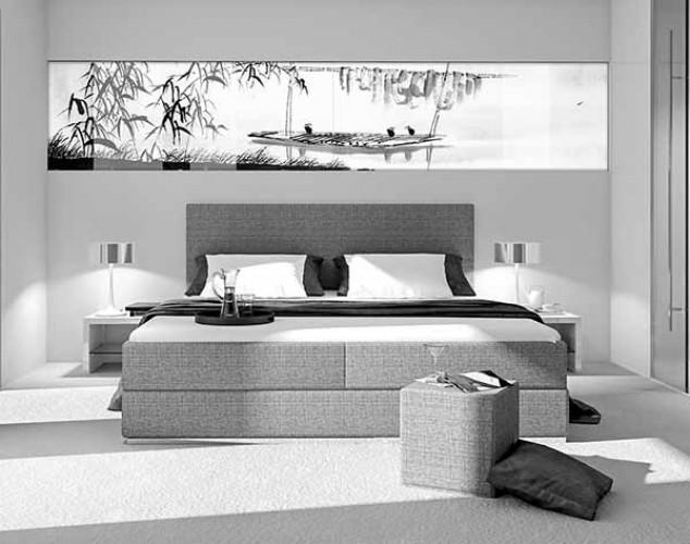 Panel szklany do sypialni z motywem pejzażu