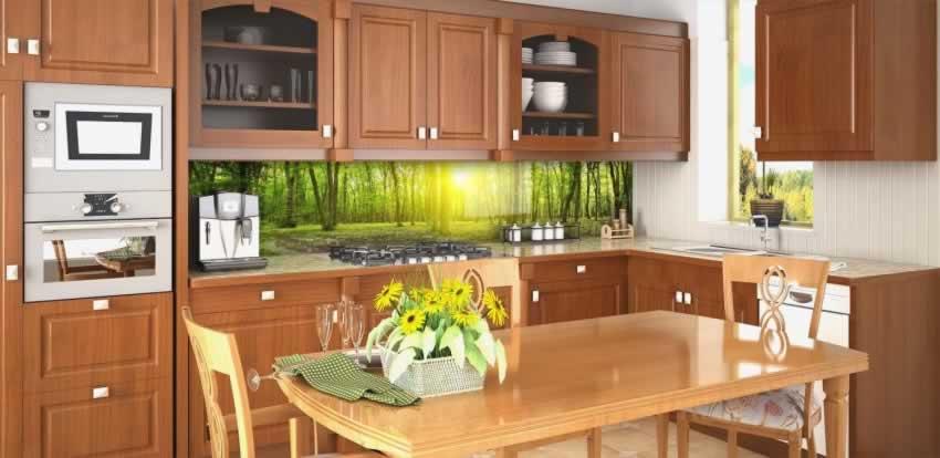 Panel szklany z motywem drzew