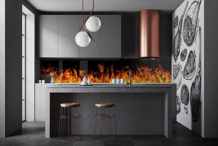 Panel szklany do kuchni - płonienie na czarnym tle, grill