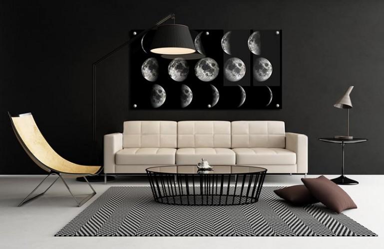 Panel szklany z fazami księżyca do salonu