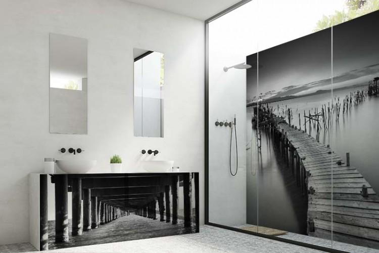 Panel szklany z motywem molo do łazienki