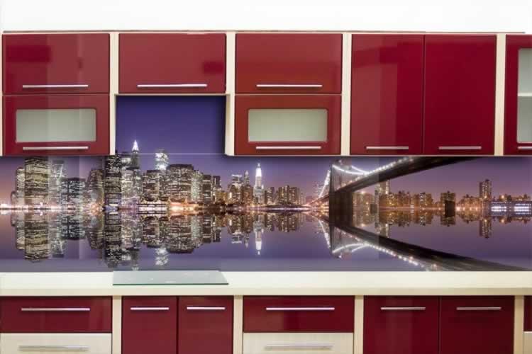 Panel szklany z mostem w Nowym Yorku