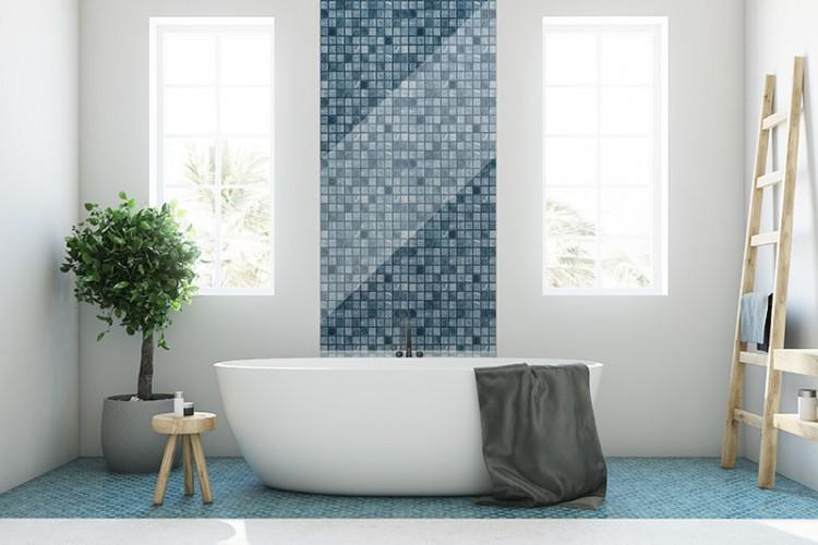 Panek szklany z motywem niebieskiej łazienki