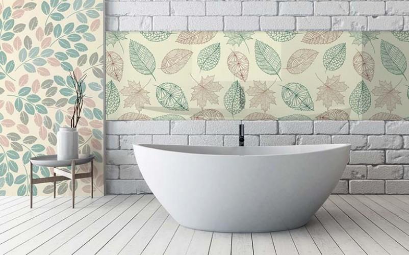 Panel szklany z motywem liści do łazienki