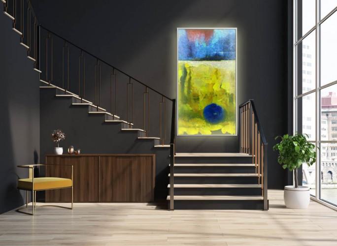 Panel szklany podświetlany LED - Abstrakcja żółto-niebieska