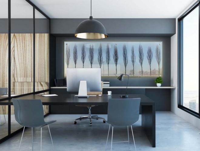 Panel podświetlany LED na dystansach do biura - drzewa