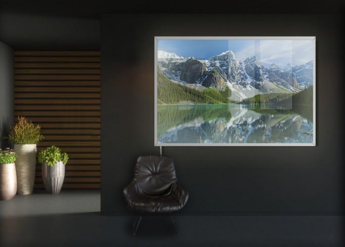 Panel szklany podświetlany LED do biura - Pejzaż z górami