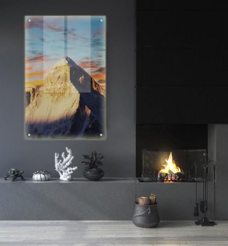 Panel podświetlany LED na dystansach, do pokoju - Góry i zachód słońca