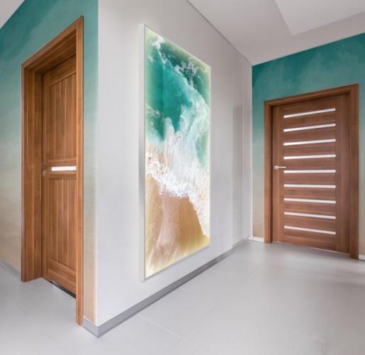 Panel szklany podświetlany LED do korytarza - Morskie fale