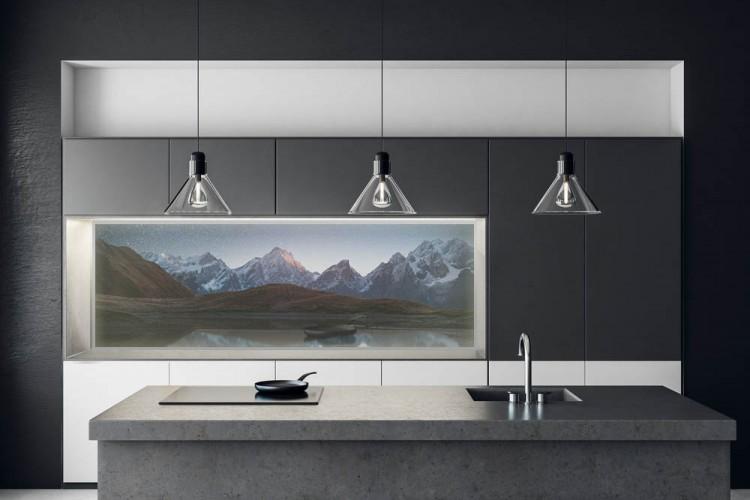 Panel szklany podświetlany LED do kuchni - Nocny krajobraz, góry i jezioro