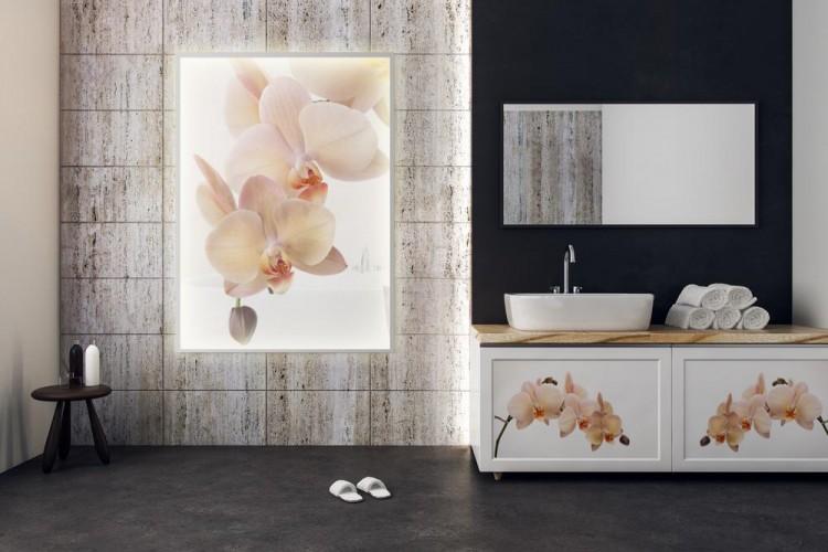 Panel szklany podświetlany LED do łazienki - Storczyki