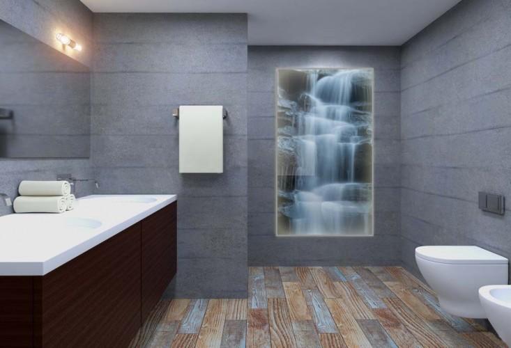 Panel podświetlany LED do łazienki - Wodospad