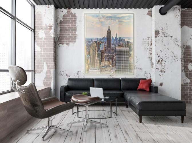 Panel szklany podświetlany LED do salonu z motywem miasta Nowy York