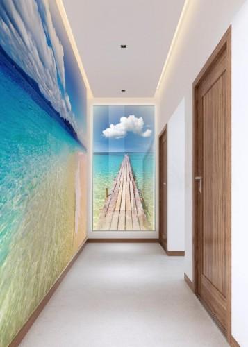 Panel szklany podświetlany LED na korytarz - Molo