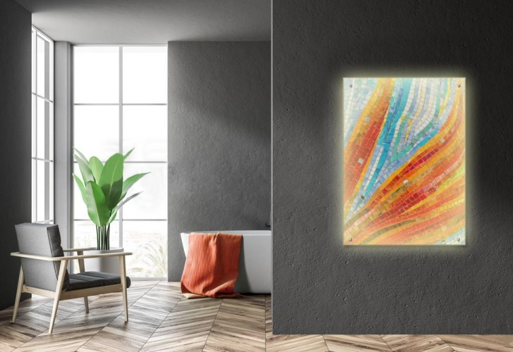 Panel szklany podświetlany LED na dystansach - Kolorowa mozaika