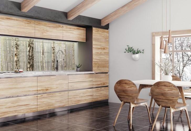 Panel szklany podświetlany LED do kuchni - Las brzozowy