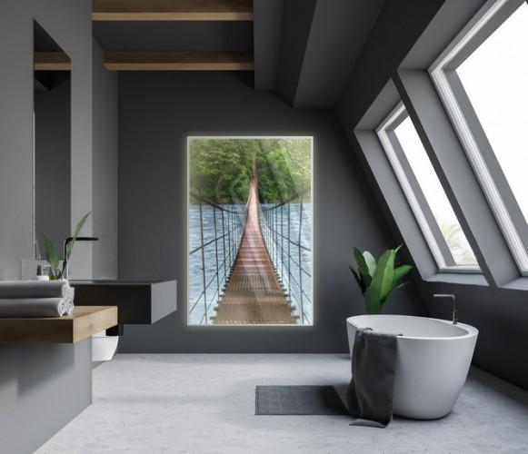 Panel szklany podświetlany LED - most nad rzeką, optyczne powiększenie