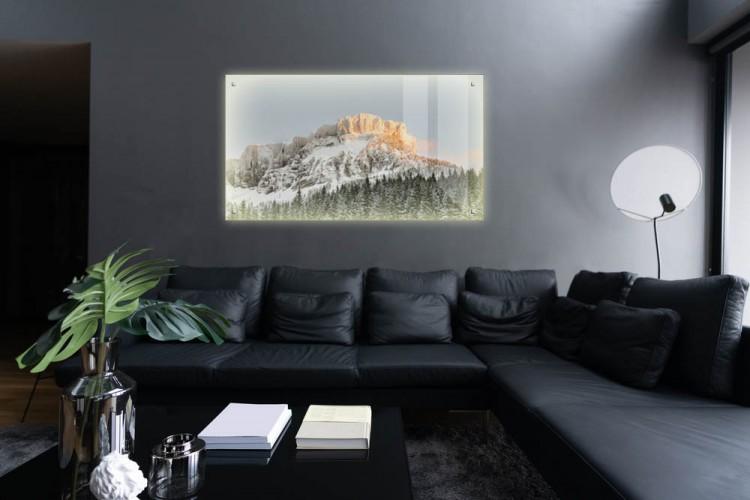 Panel podświetlany LED na dystansach do salonu - Góry przy zachodzie słońca