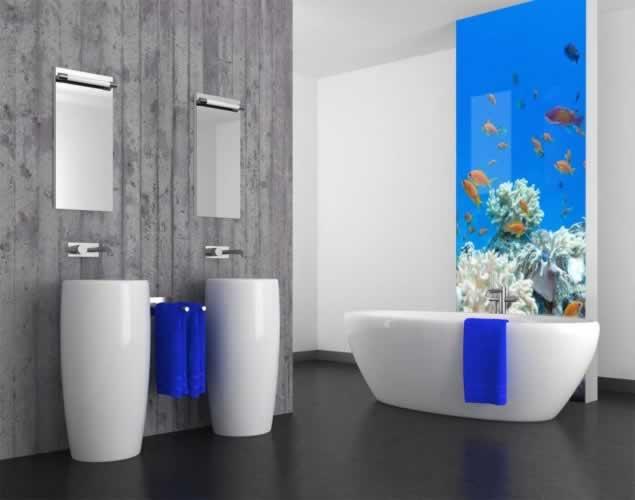 Panel szklany z rafą koralową