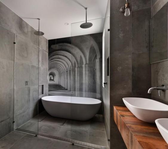 Panel szklany do łazienki - Czarno-białe arkady w Rzymie