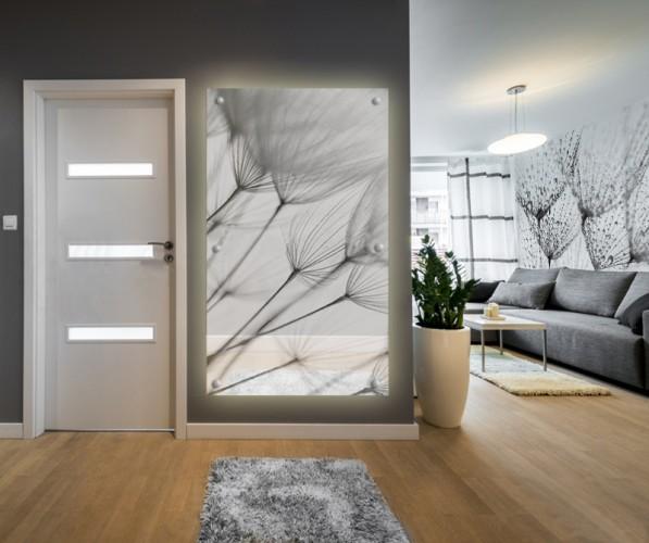 Panel szklany na dystansach - Czarno-białe dmuchawce