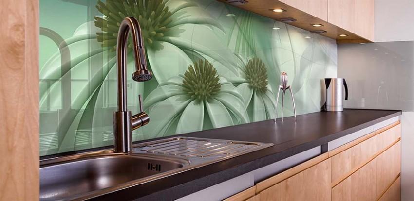 Panel szklany do kuchni z motywem kwiatowym
