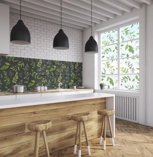 Panel szklany do kuchni - Liście, zioła na ciemnym tle