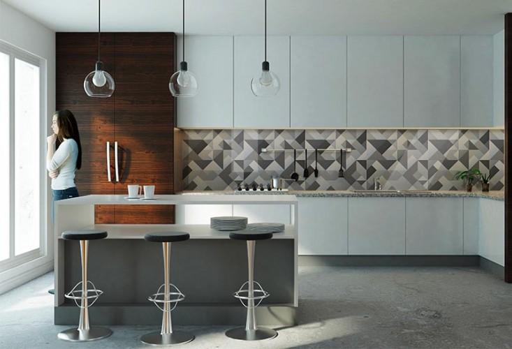 Panel szklany z szarym geometrycznym wzorem