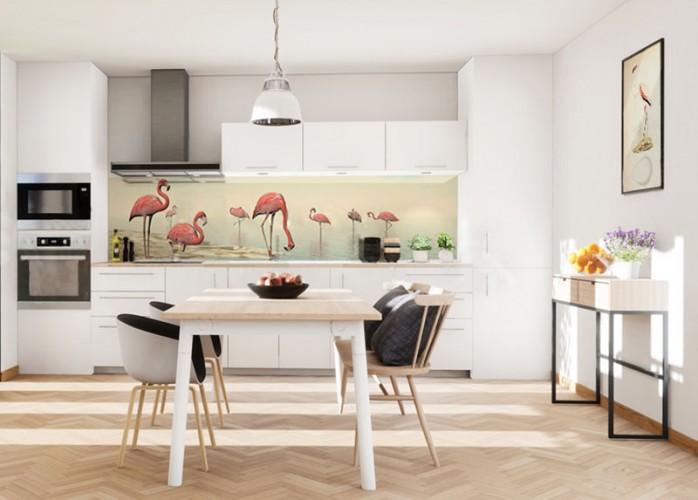 Panel szklany do kuchni z flamingami
