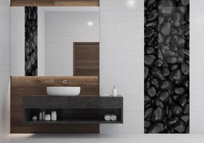 Panel szklany z kamieniami do łazienki