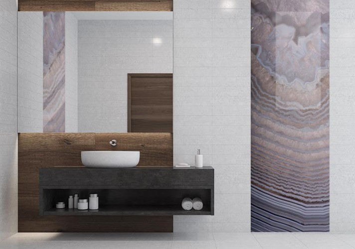 Panel szklany do łazienki - struktura kamienia szlachetnego, agat