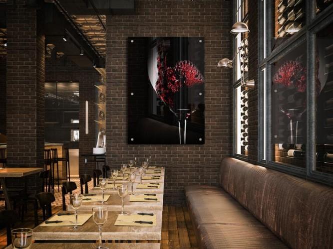Panel szklany do winiarni - Kieliszek czerwonego wina