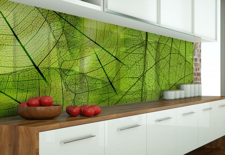 Panel szklany do kuchni z dużymi liśćmi